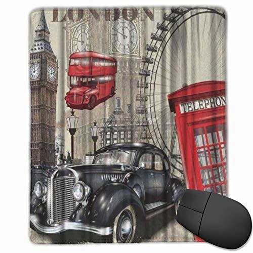MUYIXUAN Alfombrilla Raton Vintage London Big Ben Coche y Cabina de teléfono roja Alfombrilla Gaming Alfombrilla para computadora con Base de Goma Antideslizante,250×300×3mm