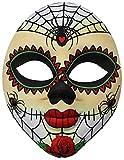 com-four® Gesichtsmaske Dia de los Muertos für Fasching, Karneval oder Halloween - Farbe: weiß/bunt (01 Stück - Mexikanisch)