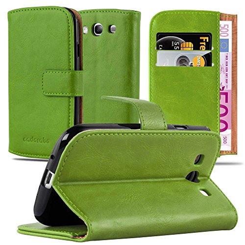 Cadorabo Hülle für Samsung Galaxy S3 / S3 NEO in Gras GRÜN – Handyhülle mit Magnetverschluss, Standfunktion & Kartenfach – Hülle Cover Schutzhülle Etui Tasche Book Klapp Style