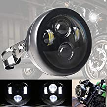 DDUOO 5-3/4 5.75inch LED Motorcycle Headlight with Headlight Housing Black Motorcycle Headlamp Assembly for Honda Shadow Cafe Racer Bobber