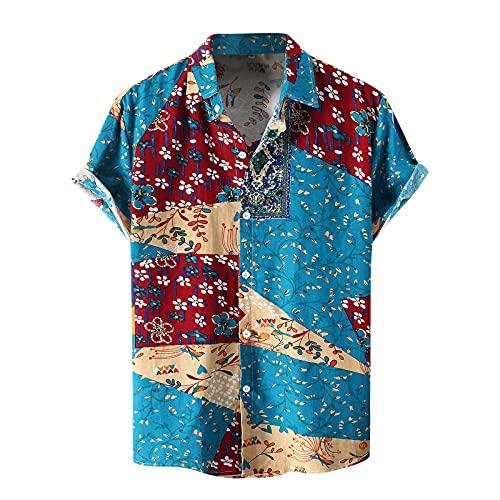 ZODOF Camisa Hawaianas Hombre Solapa Estampada Moda Casual Manga Corta 2021 Playa de Verano Camisas Hombres Tallas Grandes Casual Suelta Camisa