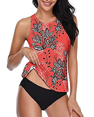 Century Star Tankini Swimsuits for Women Halter Bathing Suits Crew Neck Two-Piece Swimwear Tank Top with Bikini Bottom Red Floral Print S (fits like US 2-4)