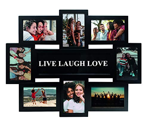 Close Up® 3D Fotorahmen LIVE Laugh Love für 8 Fotos- Qualität Collage Bilderrahmen - ca. 56 x 44 x 2 cm - schwarz