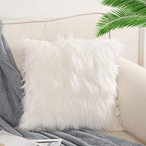 OJIA Faux Fur Throw Pillow Cover Cushion Case Super Soft Plush Accent Pillows Case Decorative New Luxury Series Style (18 x 18 Inch, Thick White)
