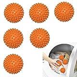 Bolas de Secado Secadora 6PCS Bolas Secadora de Ropa Bolas de Secadora de Lavadora Reutilizables Bolas Secadora de Ropa Antiarrugasd para Secadora de Ropa Más Esponjosa Naranja