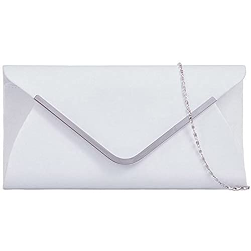 bd4312662 Ladies Classic Medium Sized Faux Suede Envelope Clutch Bag with Contrasting  Trim - White
