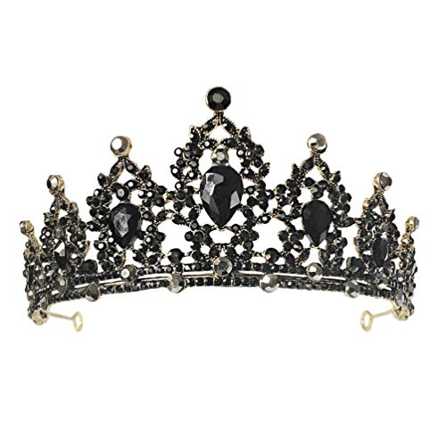 Lurrose Bride Crown Wedding Tiara Rhinestone Tiara Headband Shiny Princess Hair Decoration for Bridal Birthday Party (Black)