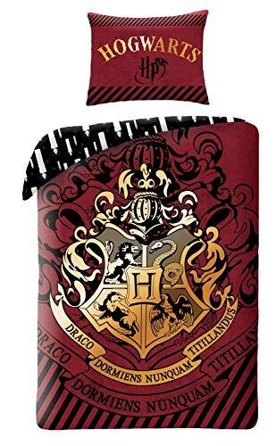 Harry Potter - Set di biancheria da letto double face, copripiumino 140 x 200 cm per letto singolo, in cotone, con lo stemma di Hogwarts