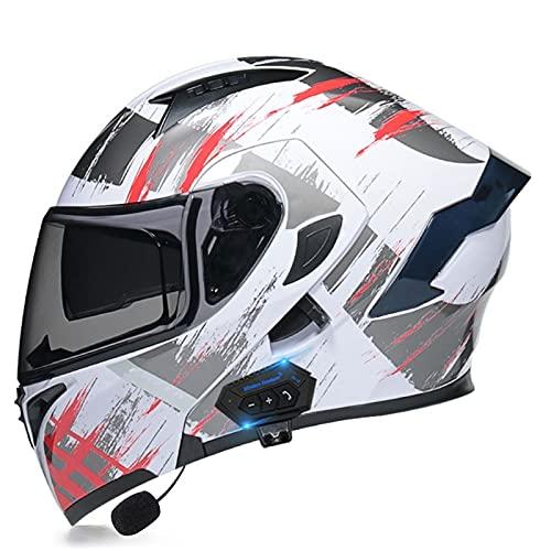 NS Casco Moto Bluetooth Flip Motocross Casco Integral para Adultos Hombres Mujeres con Visera Doble Antivaho Moto Walkie Integrado Modular Casco Locomotora (Color : S, Size : M)