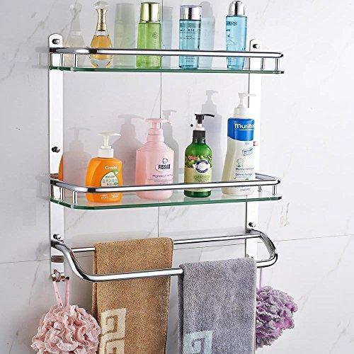 Estanter/ías ba/ño Double Deck ba/ño de cristal estanter/ía estante de toalla larga 50Cm
