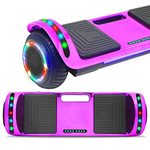 DOC Electric Smart Self-Balancing Hoverboard with Built in Speaker LED Lights Wheels Certified Hoverboard for Kids and Adults (Chrome Purple)