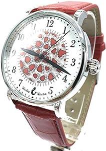 Reloj de hombre con esfera de murrina veneciana Millefiori caja color acero correa piel de cristal de Murano rojo