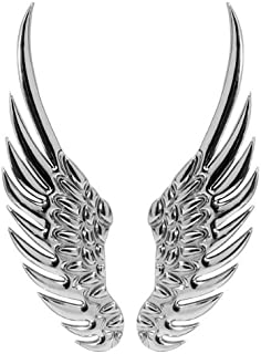 3d Chrome Silvery Stainless Alloy Metal Angel Wings Emblem Decal Sticker Brand NEW for Car Vehicle Camry Cruze Jetta Bora Golf SX4 Swift Mazda 3 5 6 CL CLK ML Mini Lancer Evo A4 A5 A6 Yaris Range Rover Mustang GTI Series Passat aveo santa fe Q5 Q7 X3 X6 M Yukon Accord Civic Versa Fit Corolla Touareg Altima