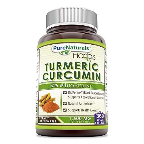 Pure Naturals Turmeric Curcumin with BioPerine, 1500 Mg Per Serving, Veggie Capsules -Supports Healthy Joints -Supports Absorption of Nutrients -Natural Antioxidant (360 Count)