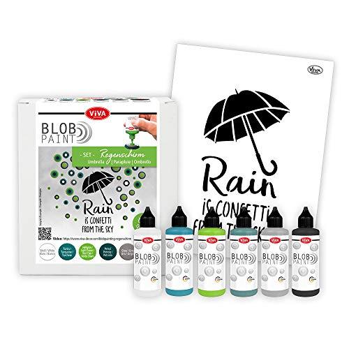 Viva Decor® Blob Paint Farbeset (Regenschirm+DIN A3 Schablone) gebrauchsfertige Farben für Blob Painting inkl. Zeichenschablonen - Painting Tools Schablonen - Made in Germany
