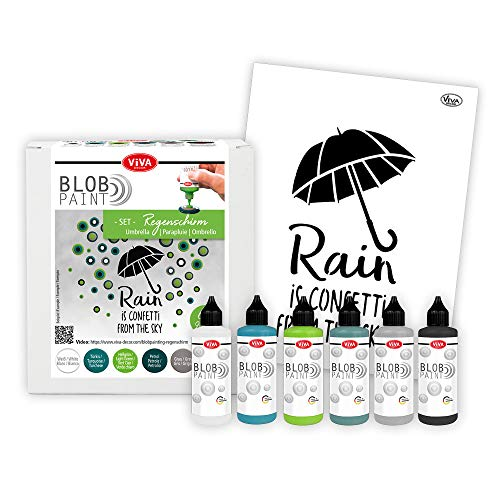 Viva Decor®️ Blob Paint Farbeset (Regenschirm+DIN A3 Schablone) gebrauchsfertige Farben für Blob Painting inkl. Zeichenschablonen - Painting Tools Schablonen - Made in Germany