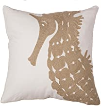 North End Decor Tan Seahorse Chain Stitch Decorative Throw 18x18 (Insert Included) Pillow,