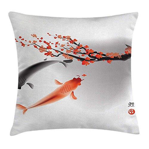 fenrris65 - Funda de almohada japonesa Koi Carp Fish Pareja Natación con flor de cerezo Sakura rama Cultura diseño 45 x 45 cm