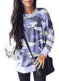 Sidefeel Women Long Sleeve Crewneck Pullover Camo Print Sweatshirt Jumper Top X-Large Blue