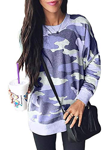 Sidefeel Women Long Sleeve Crewneck Pullover Camo Print Sweatshirt Jumper Top Medium Blue