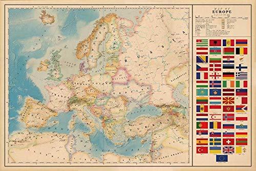 Aixmuy Puzzles Rompecabezas 1000 Piezas Vintage Europa Mapa Rompecabezas De Madera Rompecabezas Juegos Educativos Rompecabezas Juegos Rompecabezas De Regalo para Adultos, Adolescentes