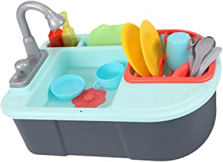 TOYANDONA Kitchen Sink Pretend Play Accessories Toys with Cookware Pots and Pans Set Cooking Utensils Kitchen Toys for Kids Toddler