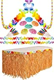 Luau Hawaiian Party Decoration Supply Set - 36 Foot Lei Garland, 9 Ft Artificial Grass Table Skirt, 144 Umbrella Parasol Cocktail Picks By 4E's Novelty