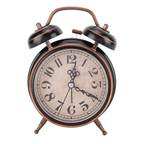 """Despertador mecánico Retro de 4""""con luz Nocturna Reloj de Cuerda Manual Doble Campana Doble Sin tictac para Personas Que Duermen Mucho Viaje Oficina en el hogar Decoración del Dormitorio(Negro)"""