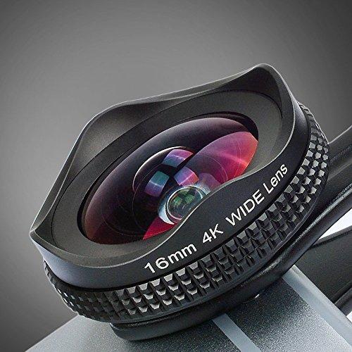 Apexel Universal 16mm Weitwinkel -Kamera Linse mit Polarisationsfilter für iPhone 7 6/6s 6Plus/6s Plus Windows Xiaomi Smartphones Farbe Schwarz (kein schwarzer Ring)