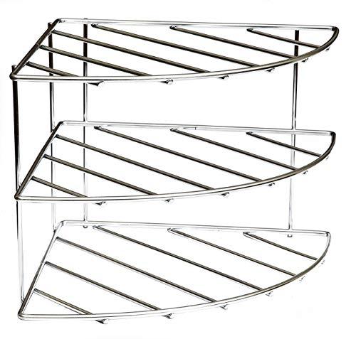 Amtido Corner Shelf Plate Rack Stand Holder - 3 Tier Kitchen Cupboard Organiser Storage - Chrome (1)
