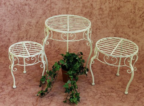 DanDiBo Blumenhocker Metall Weiß Rund 3er Set Blumenständer 20218 Pflanzenständer Beistelltisch Klein