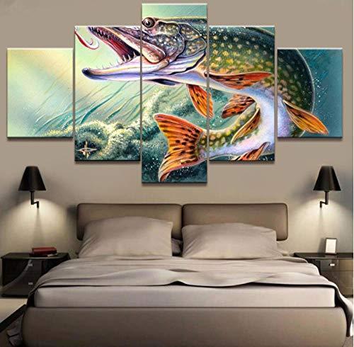 5 Aufeinanderfolgende Malerei Dekorative Tapete Wandmalerei Kunst Auf Leinwand Gerahmte Gerahmte Leinwandbilder Wohnkultur 5 Stücke Tier Angeln Haken Hecht Fisch Gemälde Drucke Poster Wohnzimmer