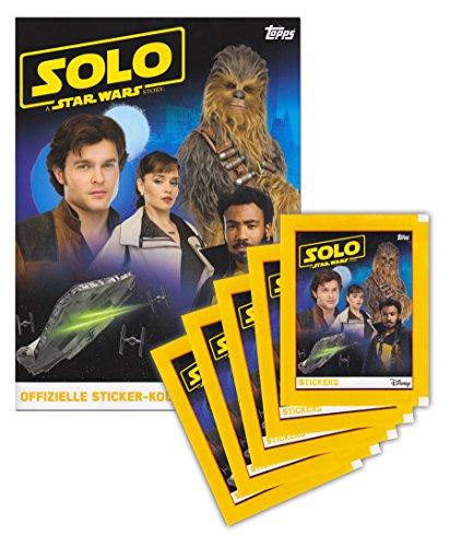 SOLO: A Star Wars Story Topps Sammelalbum + 5 Booster Packungen Sammelsticker 25 Sticker - Deutsche Ausgabe