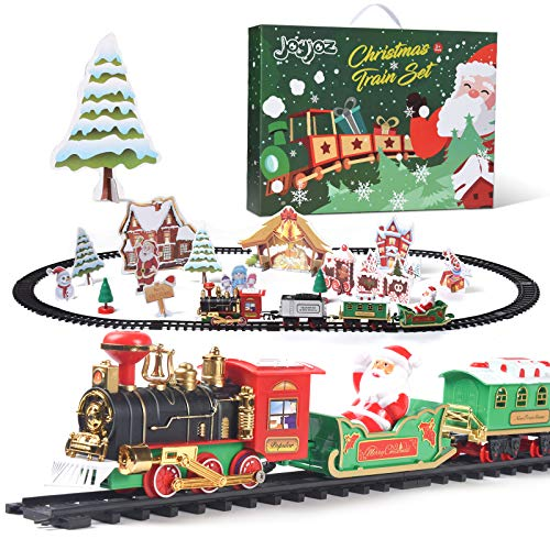 Joyjoz Christmas Train Set, Toy Train Set with Lights and Sounds, Round Railway Tracks for Under / Around The Christmas Tree with 12 Tracks for Kids Boys Girls