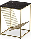 Rolife Faux Marble Side Small Coffee Table, Modern Square Accent End Side Tables Nightstand (Black)