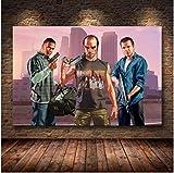 WDQFANGYI Póster del Juego Grand Theft Auto V GTA 5 Lienzo Artístico Impreso Pintura Cuadros De Pared para Decoración De Habitación Decoración del Hogar Decoración De Pared 50X70Cm (FLL9188)