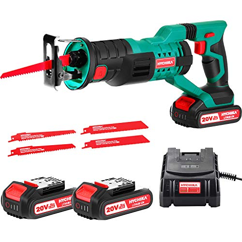 "HYCHIKA Cordless Reciprocating Saw 20V 2Ah 2 Batteries 4 Saw Blades, 0-2800SPM Variable Speed, 7/8"" Stroke Length Tool-Free Blade Change LED Light for Wood Metal Cutting Pruning"
