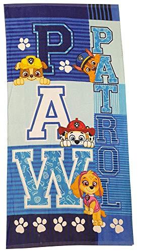 Nickelodeon Paw Patrol Toallas de Mano Toallas de Playa Toallas de baño para niños con diseños de los Perros Skye, Marshall, Chase y Rubble 70x140 cm (Chase, Marshall, Rubble y Skye, Azul)