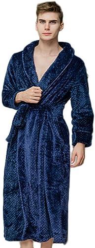 OLLOLCCY 100% Coton égypcravaten Peignoir Peignoir en éponge Robe de Chambre Robe de et Super Doux Femmes vêteHommests de Nuit Robe de Chambre des Hommes (gris),Navy,M