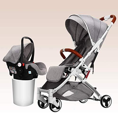 LOXZJYG Cochecito de bebé de Alta Vista, cochecitos de Buggy compactos, arnés de 5 Puntos y Canasta de Alto Almacenamiento Aluminio Carro de bebé (Color: Verde) (Color : Gris)