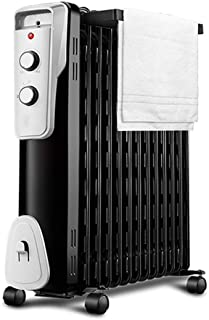 alvyu Radiador de Aceite,Elementos de radiador eficiente de la energía 2400W / 13Heat de disipación e Inteligente termostato, protección de sobrecalentamiento y 3 ajustes de calefacción, Negro