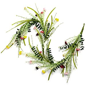 LOHASBEE Artificial Garland, 5 Feet Handcrafted Spring Daisy Flowers Garland for Home Front Door Hanging Wall Window Wedding Party Decor