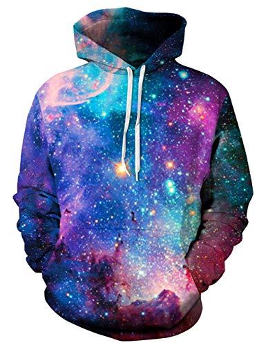 Goodstoworld Bunt 3D Druck Hoodie Galaxy Kapuzenpullover Herren Damen Langarm Pullover Sweatshirt Kapuze Gedruckte Top Jungen L