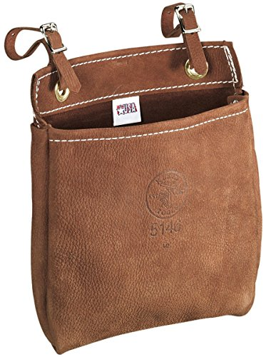 Klein Tools 5146 Tool Bag, Leather Tool Pouch with Adjustable Belt Straps, Durable All-Purpose Electrician Bag Measures 9 x 3 x 8-Inch