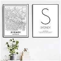 LMAGGG ブラックホワイトシドニーオーストラリア地図キャンバス絵画プリントウォールアート写真シドニー座標旅行ポスター北欧の家の装飾-42x60cmx2フレームなし