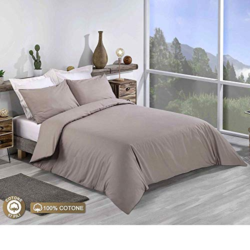 100% EGYPTIAN COTTON PERCALE 200 THREAD PLAIN DYED QUILT DUVET COVER SET DOUBLE KING SUPER KING SIZE BED SHEETS (Light Mocha, King)