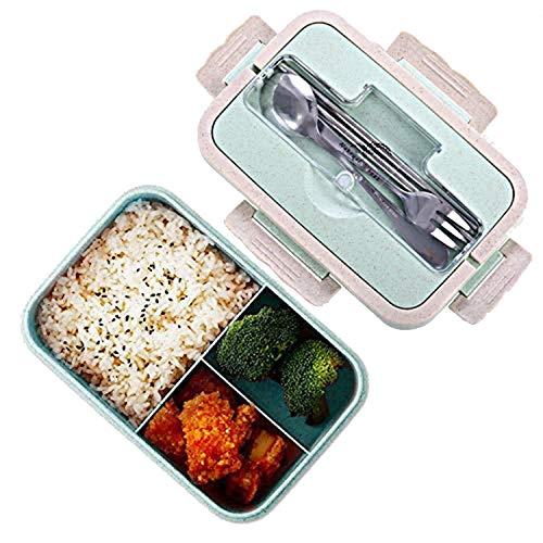 Bento boxen, Funmo-Lunch Box, LeakProof natuurlijke veiligheidstarwe Opbergbox met stokjes, lepel voor volwassen kinderen, in de magnetron (1000ml)