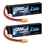 Zeee 3S 11.1V LiPo Battery 6000mAh 60C RC Battery with XT90 Connector for Quadcopter RC Hobby Airplane Helicopter Car Truck Boat UAV Drone FPV (2 Pack)