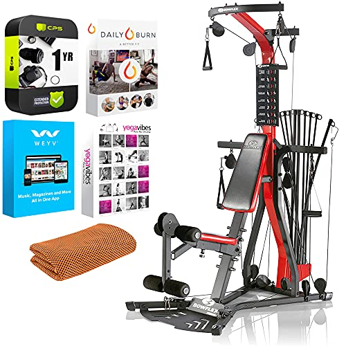 Bowflex PR3000 Home Gym Series for Total Body Home Workout Bundle with Tech Smart USA Fitness & Wellness Suite + Workout Cooling Sport Towel + 1 Year Extended Protection Plan