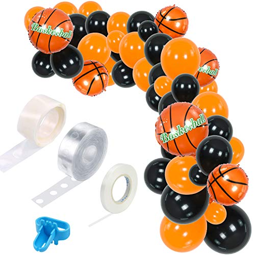 TONIFUL 110 Pieces Basketball Theme Balloon Garland Arch Kit Balloons Garland Theme Decorations Black Orange Balloons For Basketball Sports Theme Party Baby Shower Birthday Party Supplies